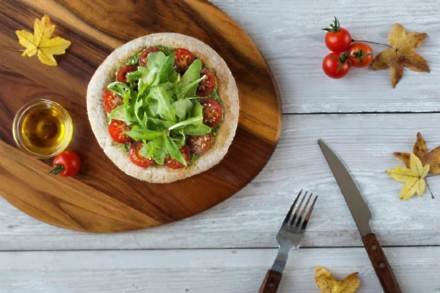 Cherry Tomato, Avocado and Basil Vegan Pizza