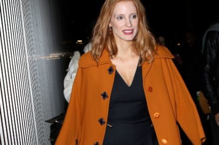 Jessica Chastain in a chic burnt orange coat