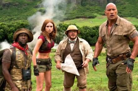 Kevin Hart, Karen Gillan, Jack Black, and Dwayne Johnson in Jumanji: Welcome to the Jungle / Picture Credit: Columbia Pictures