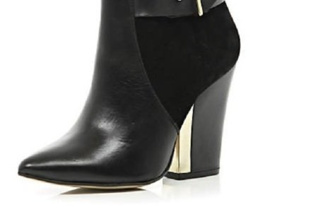 River Island Black Metal Trim Pointed Block Heel Boots – We Love