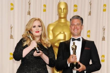 Adele and Paul Epworth at the 2013 Oscars