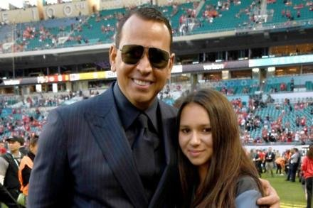 Alex Rodriguez and his daughter Natasha at the Super Bowl