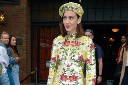 Alexa Chung leaving for the Met Gala