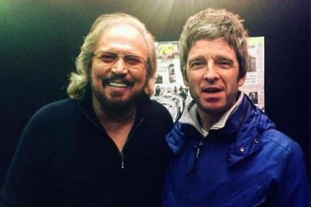 Barry Gibb and Noel Gallagher at Glastonbury (c) Instagram