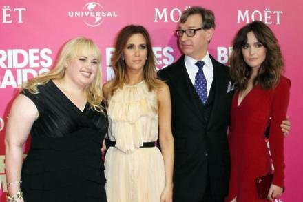 Paul Feig and the Bridesmaids cast