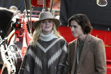Elle Fanning and Timothee Chalamet on set of Rainy Day In New York