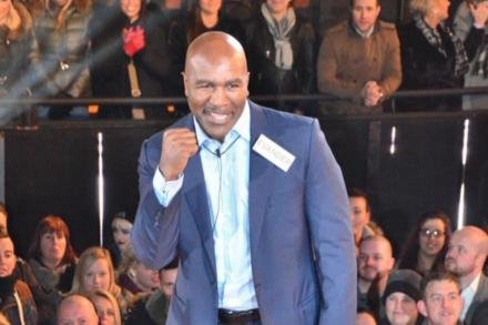 Evander Holyfield entering the Celebrity Big Brother house