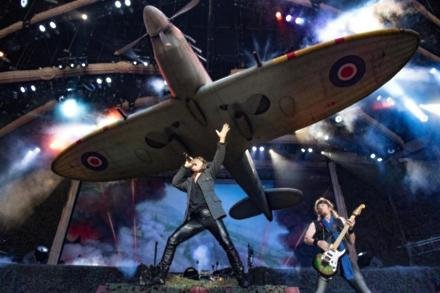 Iron Maiden perform with Spitfire replica