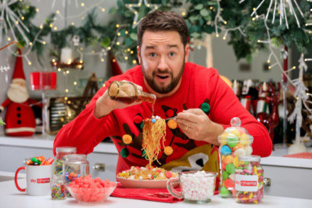 Jason Manford filming Sky Cinema's Elf Everything campaign