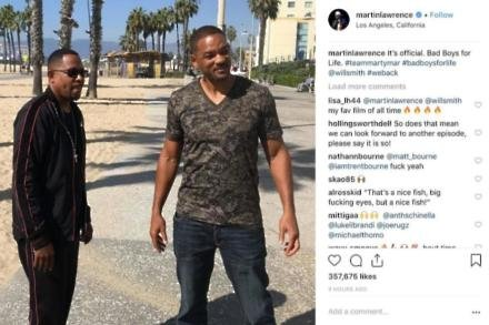 Martin Lawrence and Will Smith on Bad Boys For Life set (c) Instagram