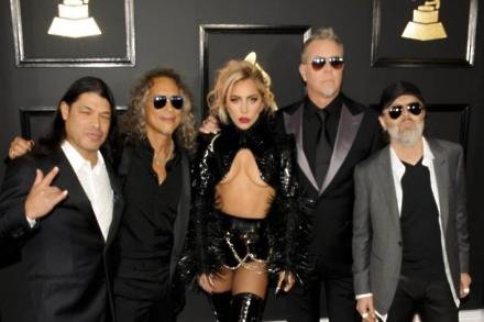 Metallica and Lady Gaga at the 2017 Grammys