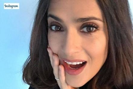 Salma Hayek's Instagram selfie showing new hairstyle