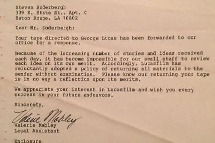 Steven Soderbergh rejection letter (c) Twitter