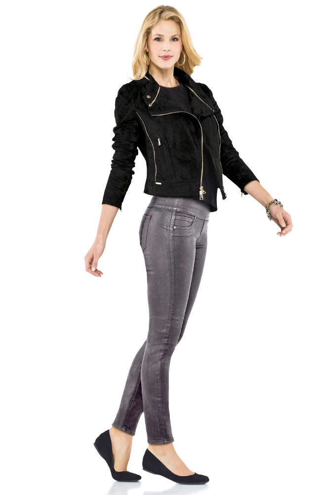 The Spanx skinny jeans help to shape the body