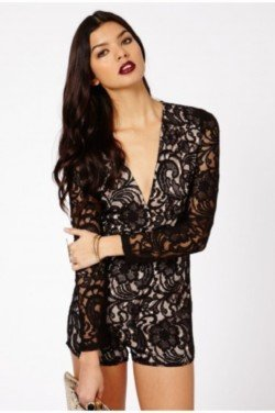 d9247dcf3b8 Beatrina Contrast Collar   Sleeves Tailored Playsuit In Black - £24.99 ·  Andreia Lace Plunge Long Sleeve Playsuit - £34.99